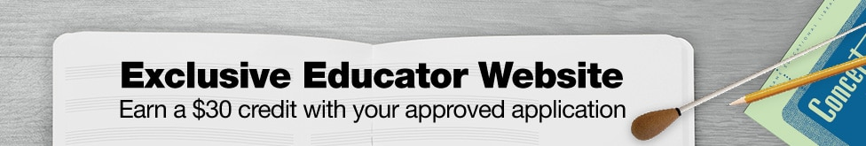 Exclusive educator website. Earn $30 credit with your approved application