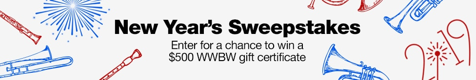 New Year's Sweepstakes. Enter for a chance to win a $500 WWBW gift certificate