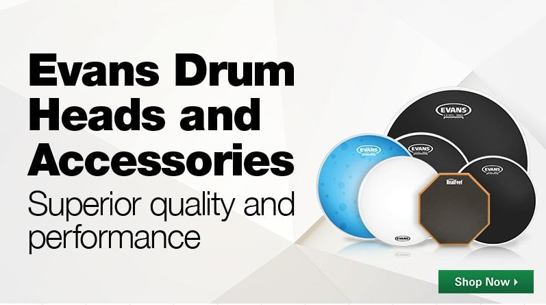 Evans Drum Heads and Accessories. Superior quality and performance. Shop Now.