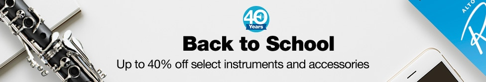 Back to school. Up to 40 percent off select instruments and accessories.