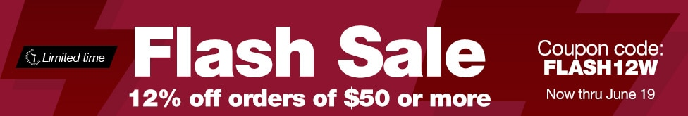 Flash Sale. 12% off orders of $50 or more. Coupon code FLASH12W