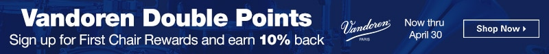 Vandoren double points, sign up for first chair rewards and earn 10% back.