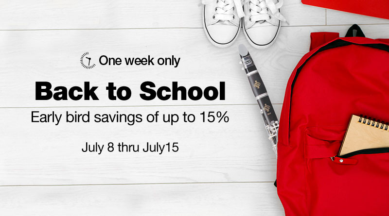 Back to school early bird savings of up to 15%