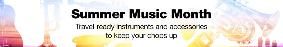Summer music month.  Travel ready instruments and accessories