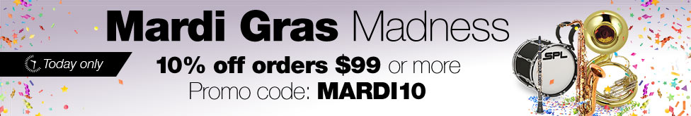 mardi gras madness. 10 percent off orders 99 dollars or more. use code mardi10