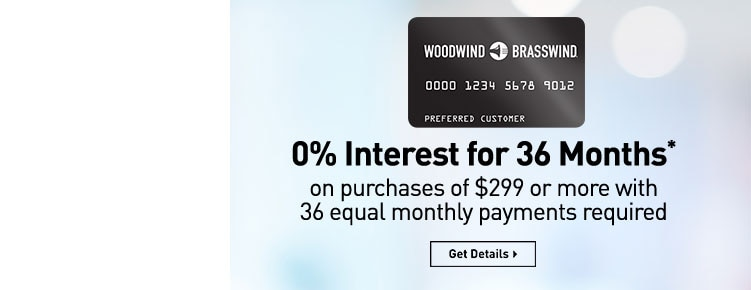 0 percent interest for 36 months* on purchases of 299 dollars or more with 36 equal monthly payments required. Get details.