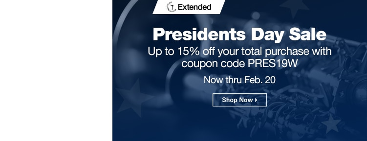 Extended Presidents Day Sale | Up to 15% off your total purchase with coupon code PRES19W | Now through February 20th | Shop Now