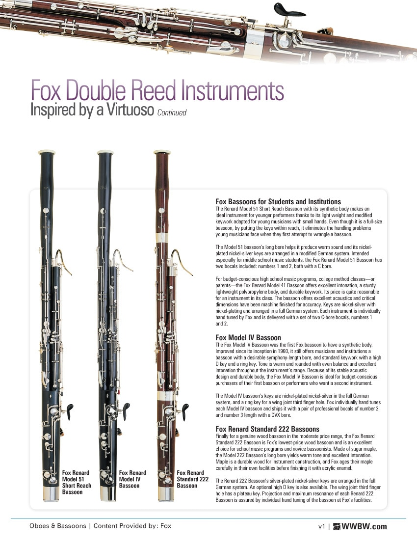 Fox Double Reed Instruments: Inspired By A Virtuoso